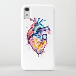 Colorful Human Anatomical Heart - Watercolor Painting by Lisa Whitehouse iPhone Case