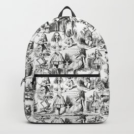 Alice in Wonderland | Toile de Jouy Pattern | Black and White | Vintage Pattern | Victorian Gothic | Backpack