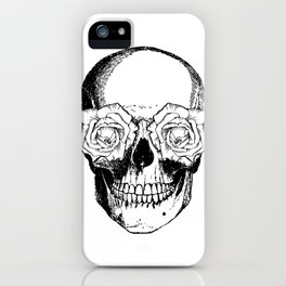 Skull and Roses | Black and White iPhone Case