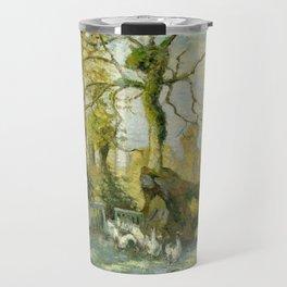"Camille Pissarro ""The Goose Girl at Montfoucault (White Frost)"" Travel Mug"