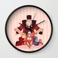 valentines Wall Clocks featuring Happy Valentines  by DustyLeaves