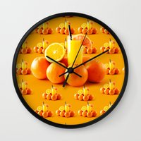 orange pattern Wall Clocks featuring Orange Pattern by Azeez Olayinka Gloriousclick