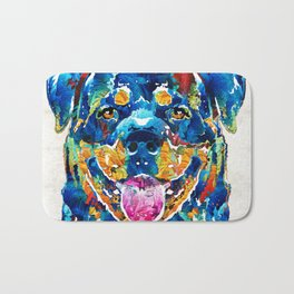 Colorful Rottie Art - Rottweiler by Sharon Cummings Bath Mat