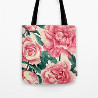 peonies Tote Bags featuring Peonies by Lynette Sherrard Illustration and Design