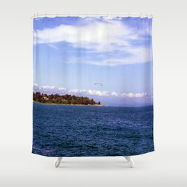 Lone Gull Over Lake Michigan Shower Curtain
