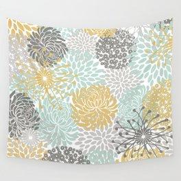 Floral Abstract Print, Yellow, Gray, Aqua Wall Tapestry