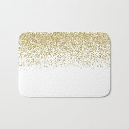 Sparkling gold glitter confetti on simple white background- Pattern Bath Mat