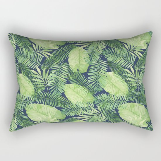 Tropical Branches Pattern on Dark 02 Rectangular Pillow