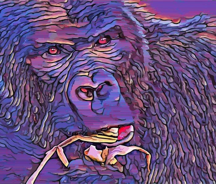 Feeding Gorilla Metal Travel Mug