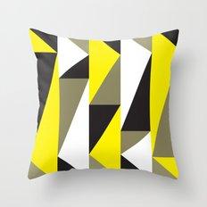 Yellow & black triangle pattern Throw Pillow