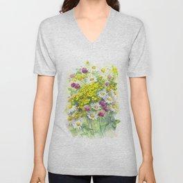 Watercolor meadow flowers spring Unisex V-Neck