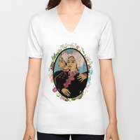 twins V-neck T-shirts featuring Twins by Nina Twin