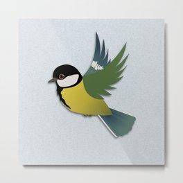 Flying great tit bird  Metal Print
