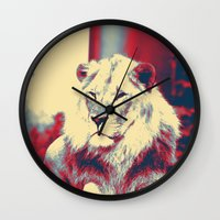 popart Wall Clocks featuring Lion popart by MehrFarbeimLeben