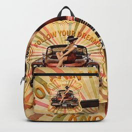 Classic cuban car Plymouth sexy girl vintage retro shirt Backpack