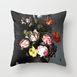 Flowers In A Vase With Shells And Insects Throw Pillow