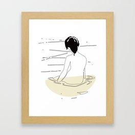 Nude Woman Geisha Japanese Line Art Drawing Erotic Naked Body Water Framed Art Print