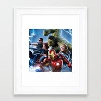 super heroes Framed Art Prints featuring Super Heroes by Tom Lee