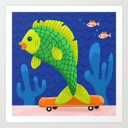 Skateboard Fish Art Print