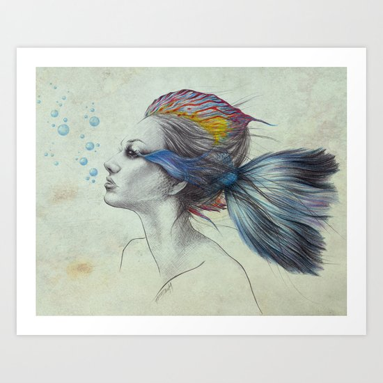 When I was a fish   textured Art Print