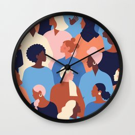 Female diverse faces of different ethnicity pattern Wall Clock
