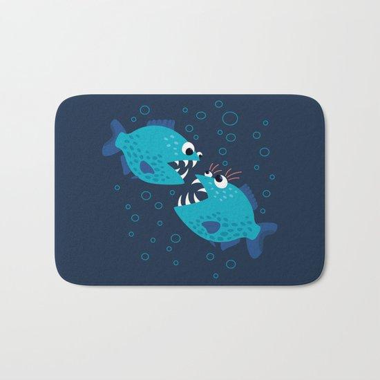 Gossiping Blue Piranha Fish Bath Mat