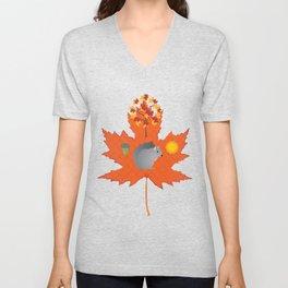 Grey Squirrel Autumn Pattern Unisex V-Neck