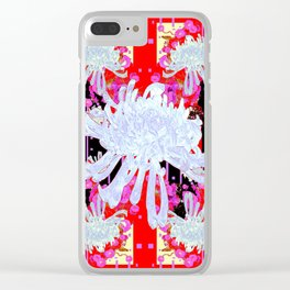 Black & Red Decorative Modern White Mums Patterns Flowers Clear iPhone Case