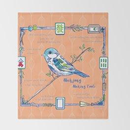 Sparrow Mahjong in Orange Throw Blanket