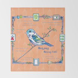 Sparrow Mahjong in Orange Throw Blanket