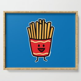 Happy French Fries potato frites fried junk food Serving Tray
