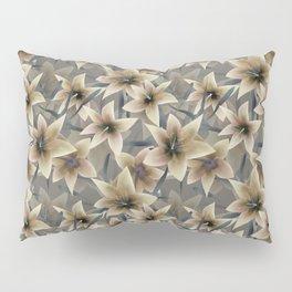 Lily. Grey beige floral pattern . Pillow Sham