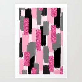 Black and Pink Glitter Art Print