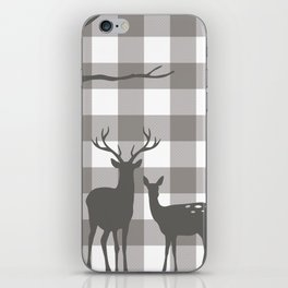 Deer & Birch Grey Plaid iPhone Skin
