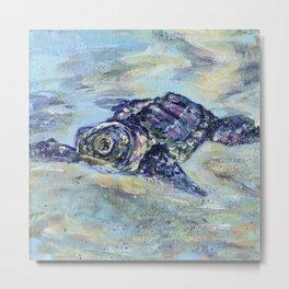 Loggerhead Sea Turtle Painting Metal Print