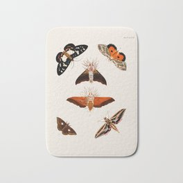 Moths and Butterflies Vintage Book Illustration Bath Mat