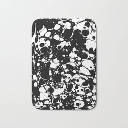 Black and white contrast ink spilled paint mess Bath Mat