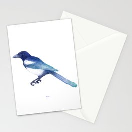 Magpie (Pica pica) - blue and turquoise Stationery Cards