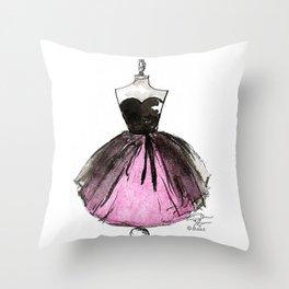 Pink and Black Sheer Dress Fashion Illustration Throw Pillow