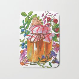 Honey Jar with Flowers, Herbs and Berries Bath Mat