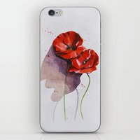 poppies iPhone & iPod Skins featuring Poppies by Alina Rubanenko
