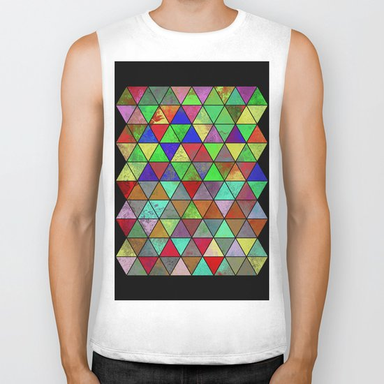 Textured Triangles 2 - Abstract, geometric, textured painting Biker Tank