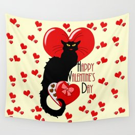 Le Chat Noir with Chocolate Candy Gift Wall Tapestry
