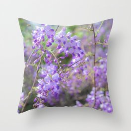 Bees and lilacs Throw Pillow
