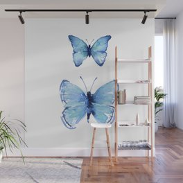 Two Blue Butterflies Watercolor Wall Mural