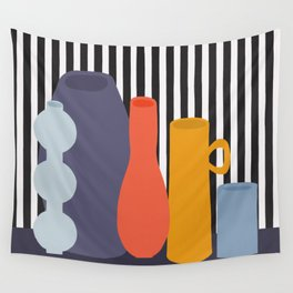 Still Life with Five Colorful Vases Wall Tapestry