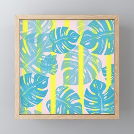 Linocut Monstera Neon Framed Mini Art Print