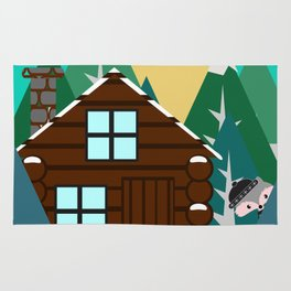 Winter cabin in the woods Rug