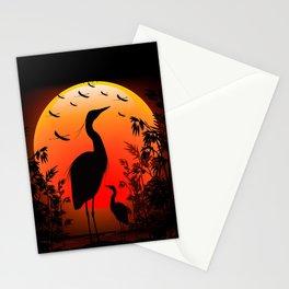 Heron Shape on Sunset Stationery Cards