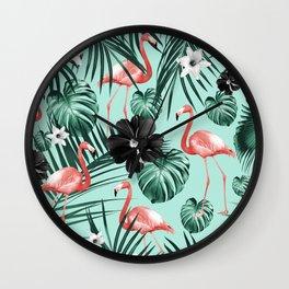 Tropical Flamingo Flower Jungle #3 #tropical #decor #art #society6 Wall Clock